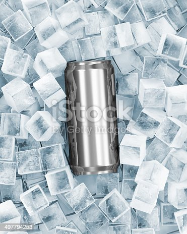 istock Can of Beer in Ice Cubes 497794253