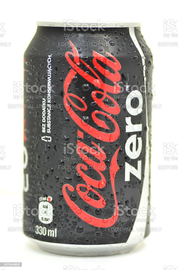 Can of Coca-Cola Zero drink on white stock photo
