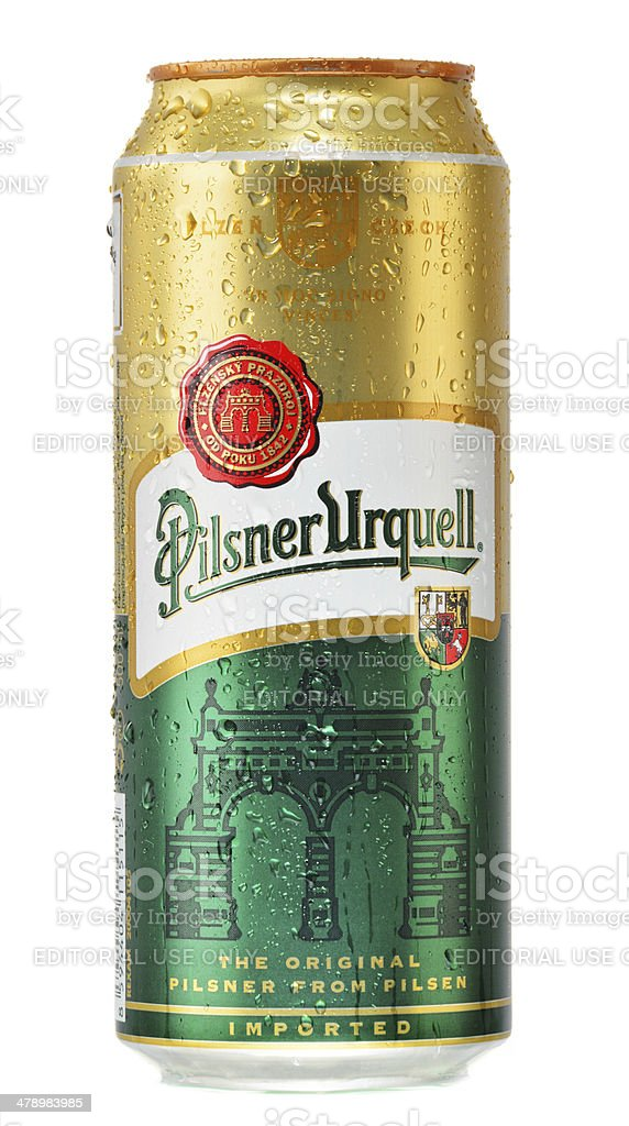 Can Of Pilsner Urquell Beer Isolated On White Stock Photo - Download