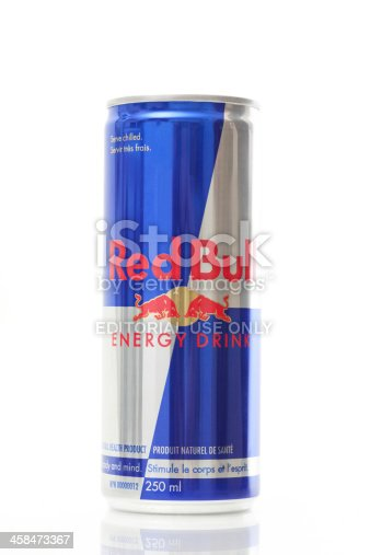 Calgary, Alberta, Canada - July 20, 2011: Product shot of Red Bull Energy Drink. Red Bull was created by Austrian entrepreneur Dietrich Mateschitz in 1987.
