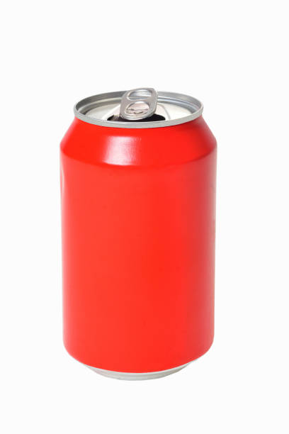 can of red drink on white background can of red drink on white background volume fluid capacity stock pictures, royalty-free photos & images