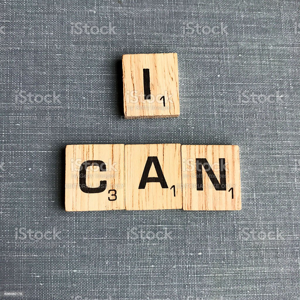 I Can Spelled with Scrabble Letters stock photo