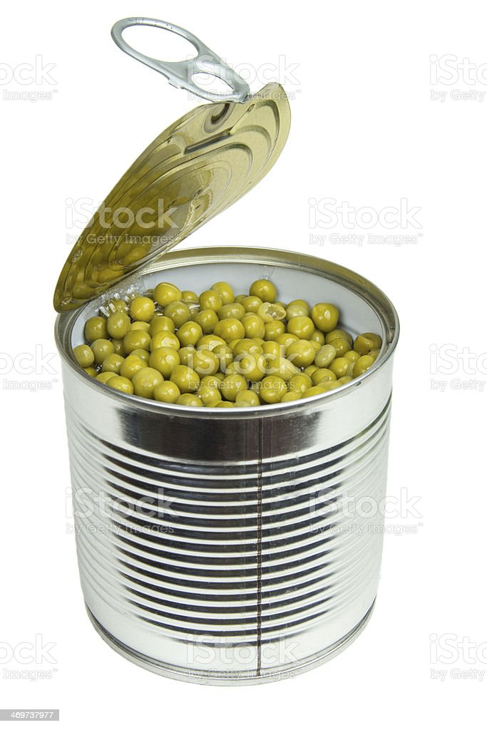 Can with green peas royalty-free stock photo