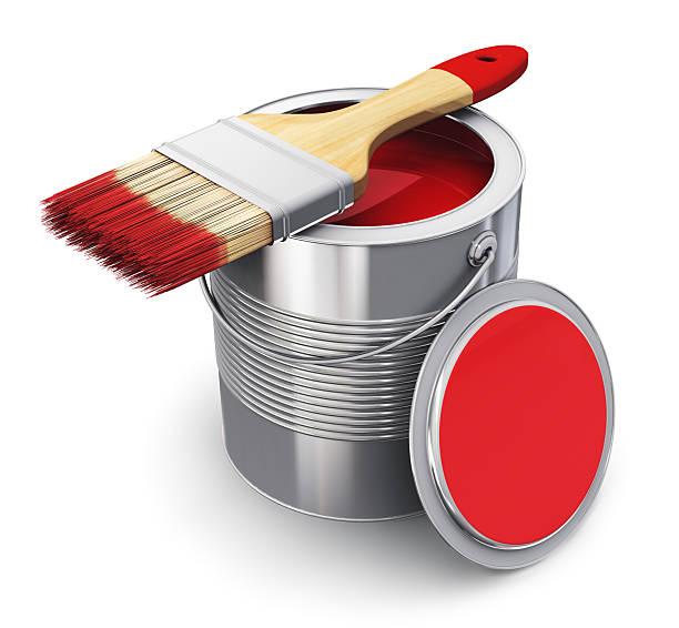 kann mit roter farbe und pinsel - zinn farbe stock-fotos und bilder