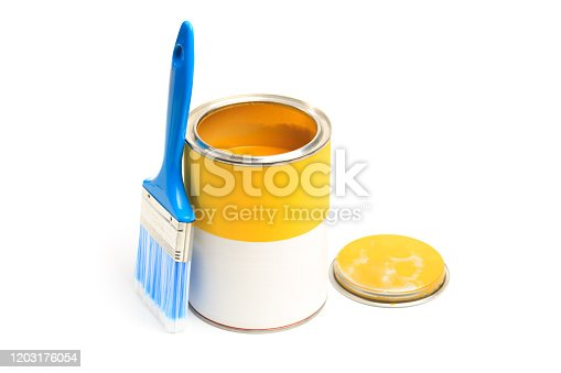 939851856 istock photo Can with yellow paint with brush isolated on white background - Image 1203176054