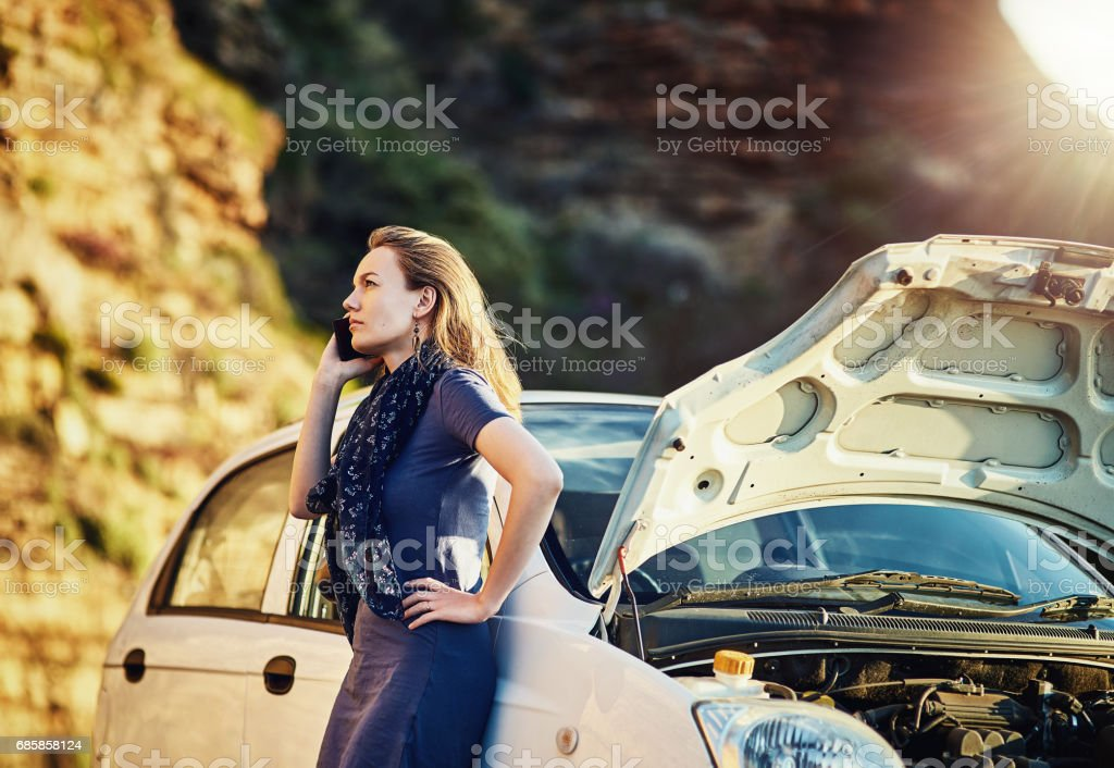 Can you come tow my car away? stock photo