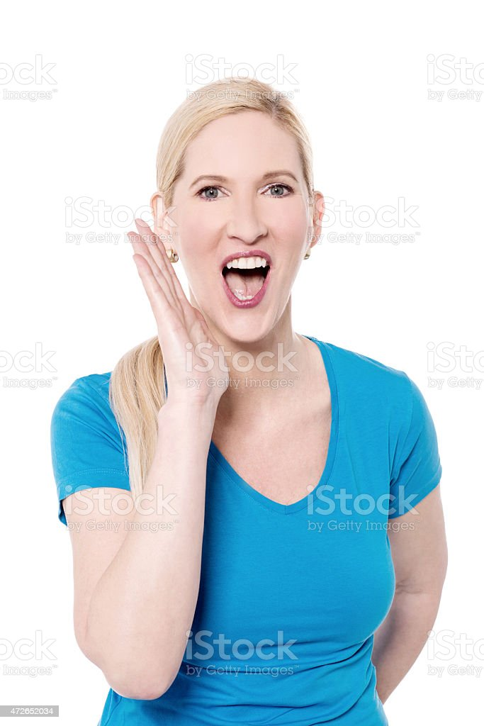 Can you hear me ? stock photo