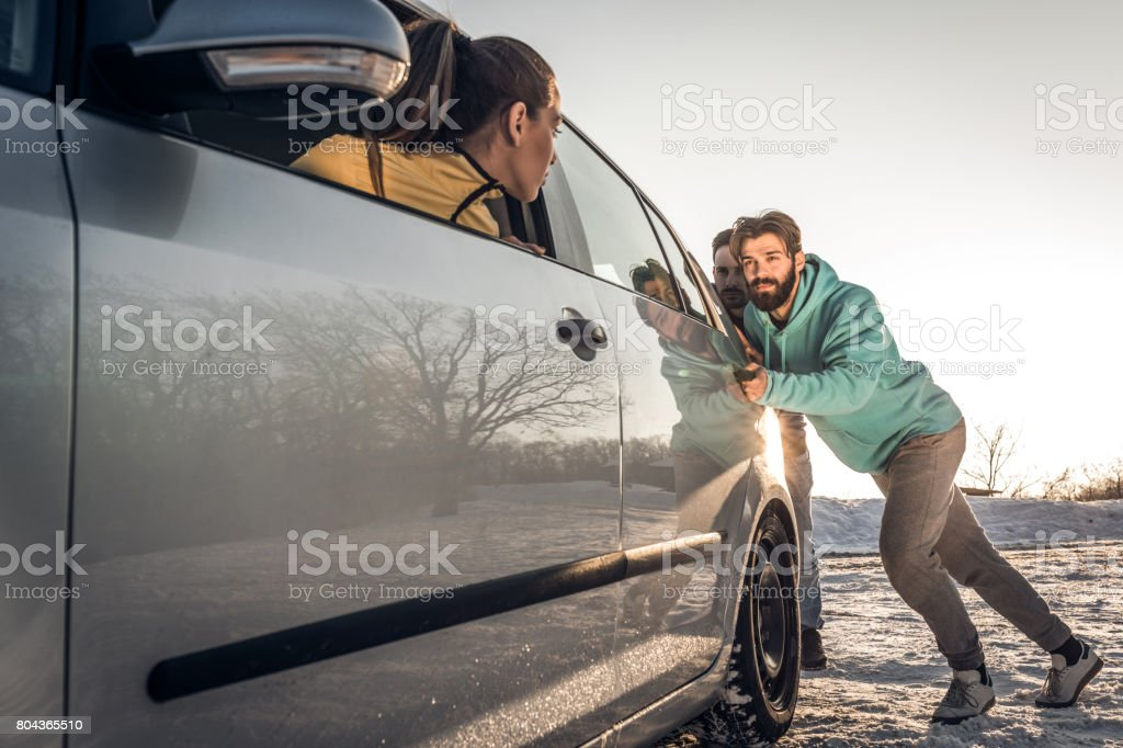 Can you please push my car? stock photo