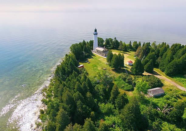 Cana Island Lighthouse on Lake Michigan, Door County Wisconsin stock photo