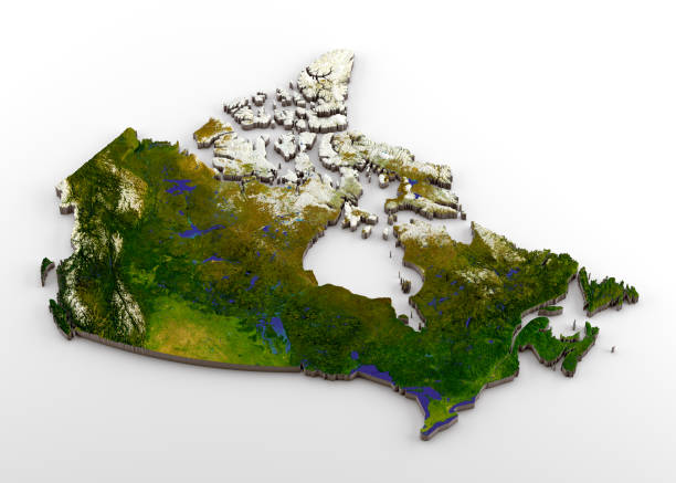 Canada 3D Physical Map with Relief 3D rendering of extruded high-resolution physical map (with relief) of Canada, isolated on white background. Modeled and rendered with Houdini 16.5 Satellite image from NASA: https://visibleearth.nasa.gov/view.php?id=74092 country geographic area stock pictures, royalty-free photos & images