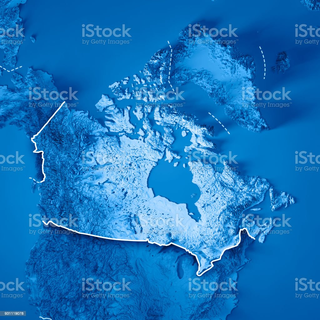 Canada 3D Render Topographic Map Blue Border stock photo