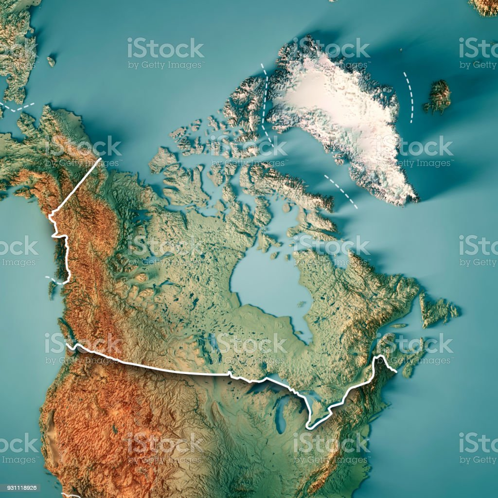 Canada 3D Render Topographic Map Border stock photo