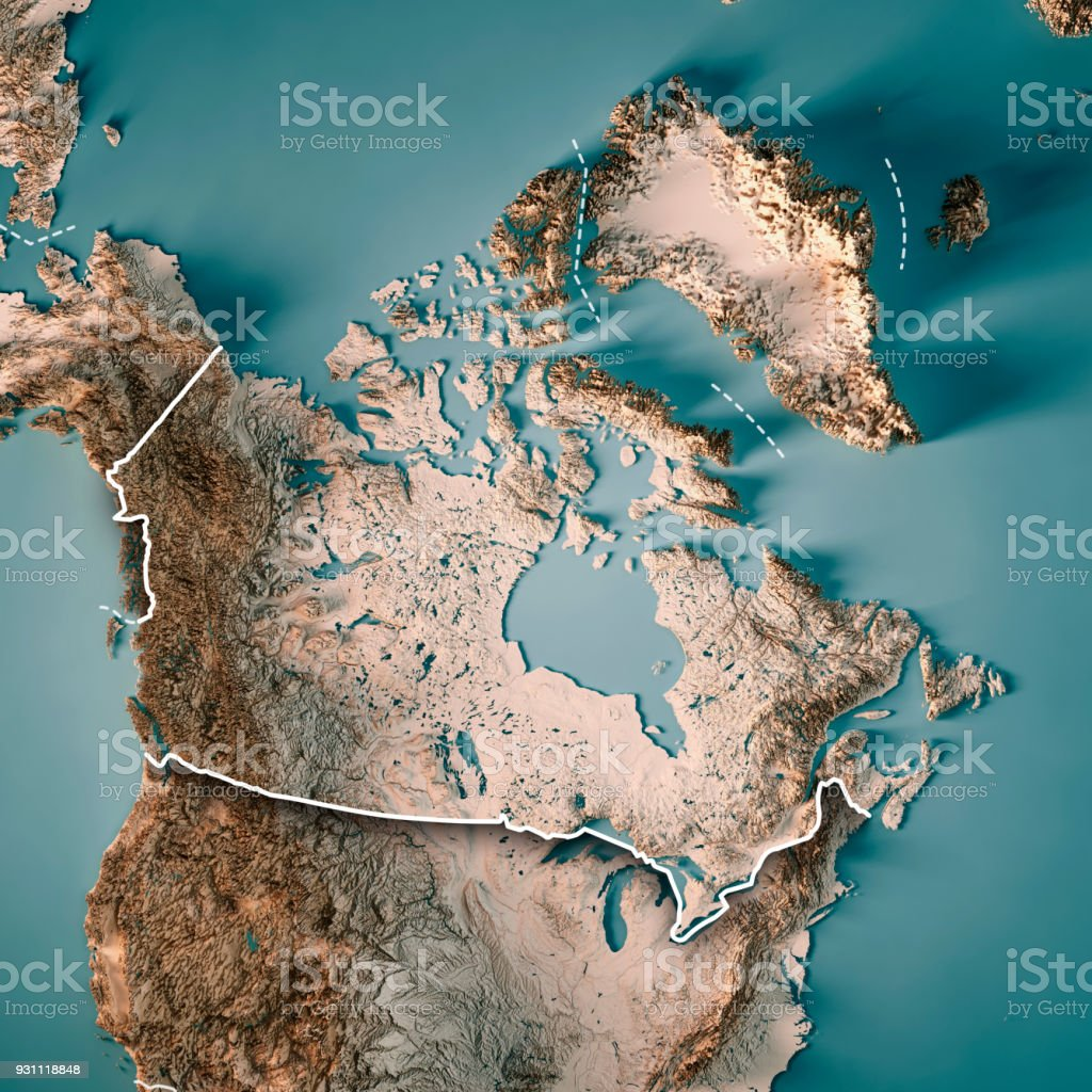 Canada 3D Render Topographic Map Neutral Border stock photo