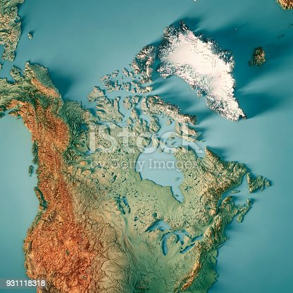 3D Render of a Topographic Map of Canada. All source data is in the public domain. Color texture: Made with Natural Earth.  http://www.naturalearthdata.com/downloads/10m-raster-data/10m-cross-blend-hypso/ Boundaries Level 0: Humanitarian Information Unit HIU, U.S. Department of State (database: LSIB) http://geonode.state.gov/layers/geonode%3ALSIB7a_Gen Relief texture and Rivers: SRTM data courtesy of USGS. URL of source image:  https://e4ftl01.cr.usgs.gov//MODV6_Dal_D/SRTM/SRTMGL1.003/2000.02.11/ Water texture: SRTM Water Body SWDB: https://dds.cr.usgs.gov/srtm/version2_1/SWBD/