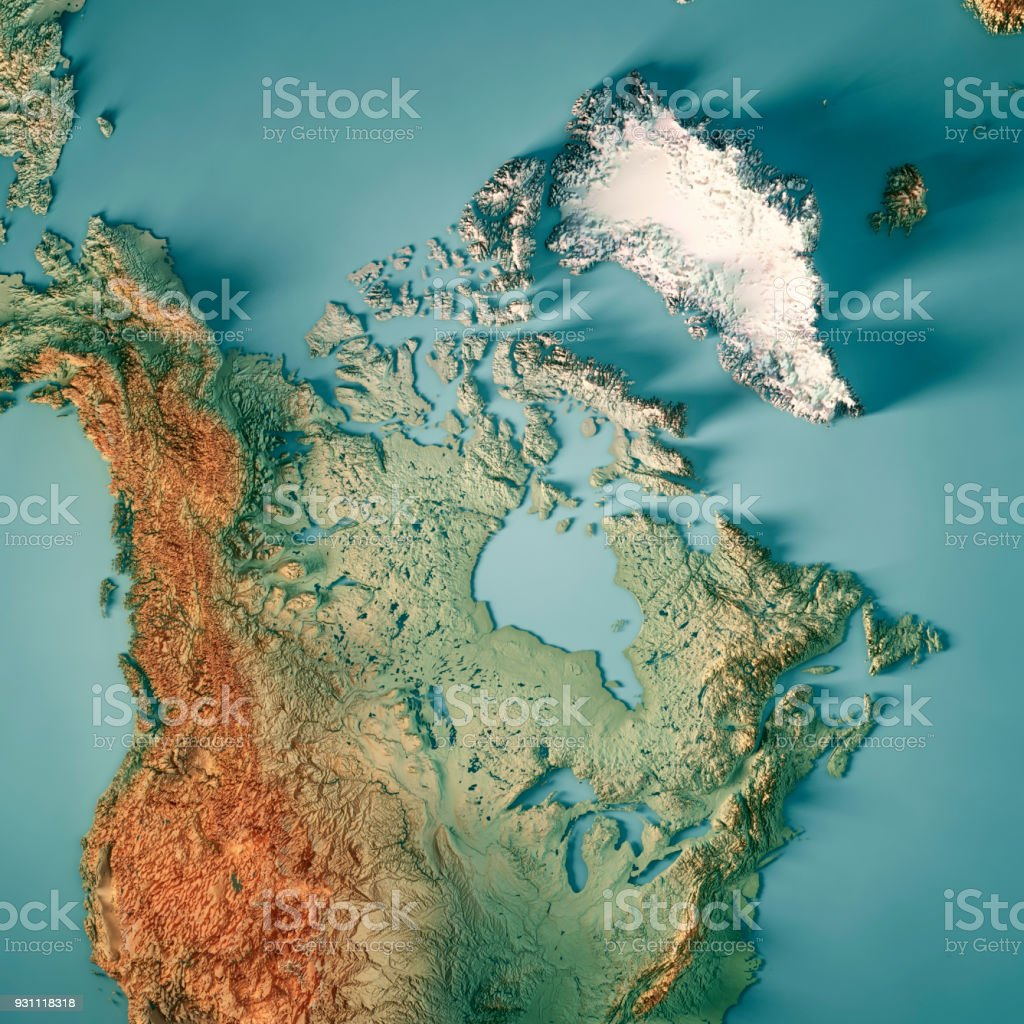 Canada 3D Render Topographic Map stock photo