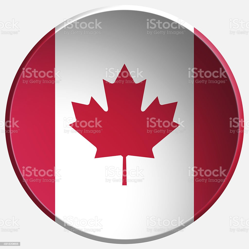canada 3d round button stock photo