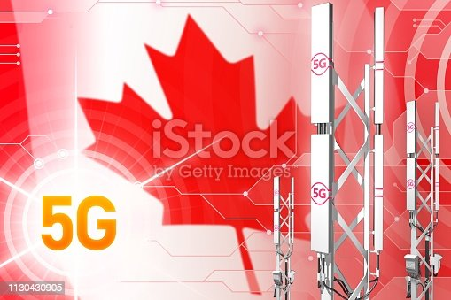 istock Canada 5G industrial illustration, large cellular network mast or tower on modern background with the flag - 3D Illustration 1130430905