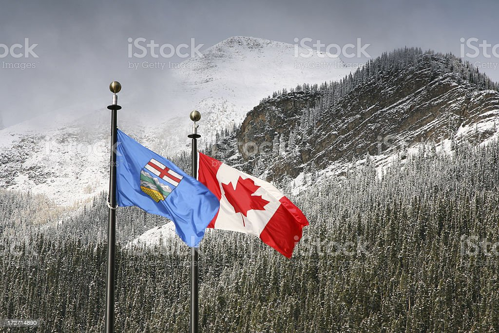 Canada & Alberta flags stock photo