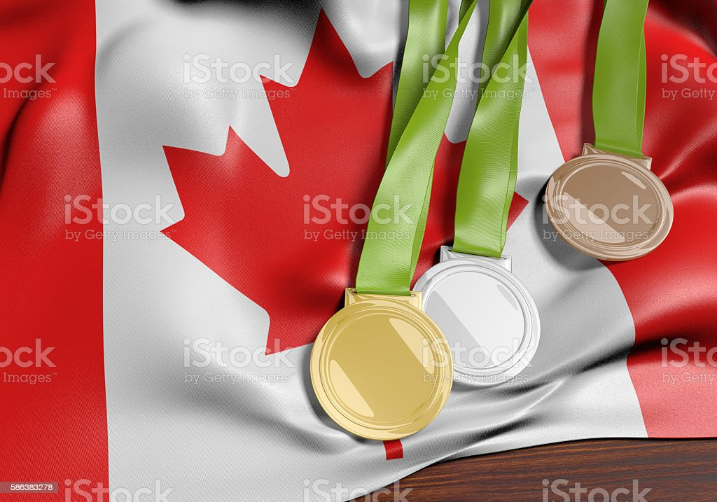 Canada and 2016 summer games sports competition medals, 3D rendering stock photo