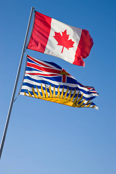 Canada and British Columbia flags stock photo