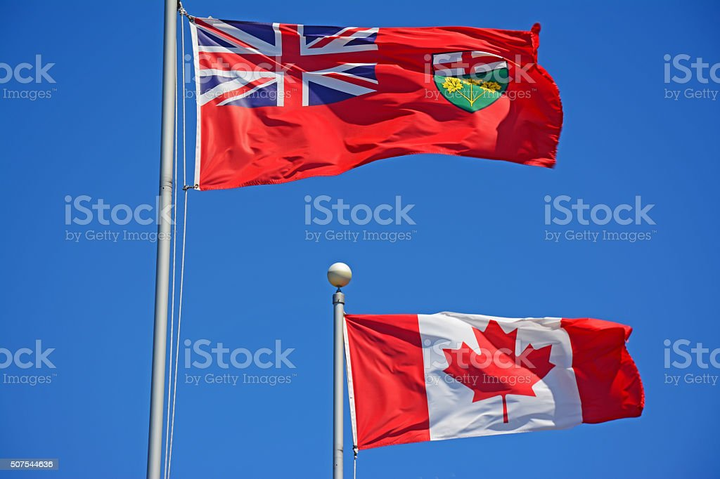 Canada and Ontario flags stock photo