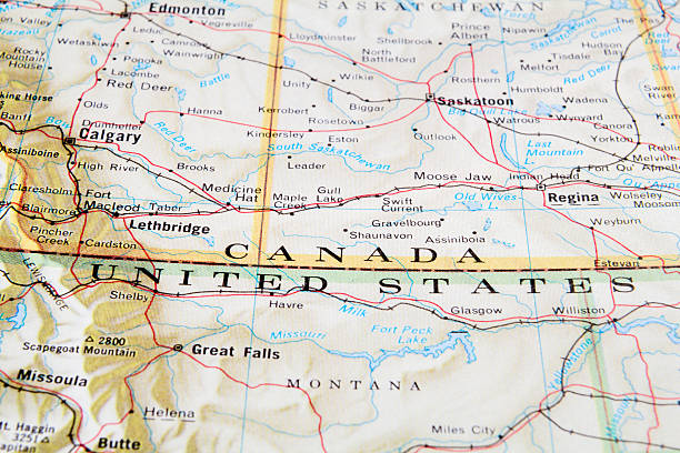 Canada Us Border Pictures Images And Stock Photos IStock - Map canada us border