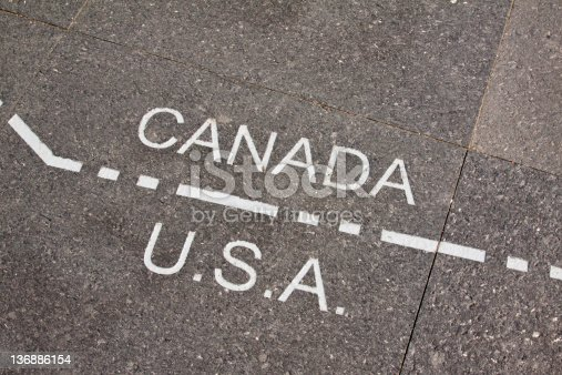 istock Canada and USA dividing line 136886154