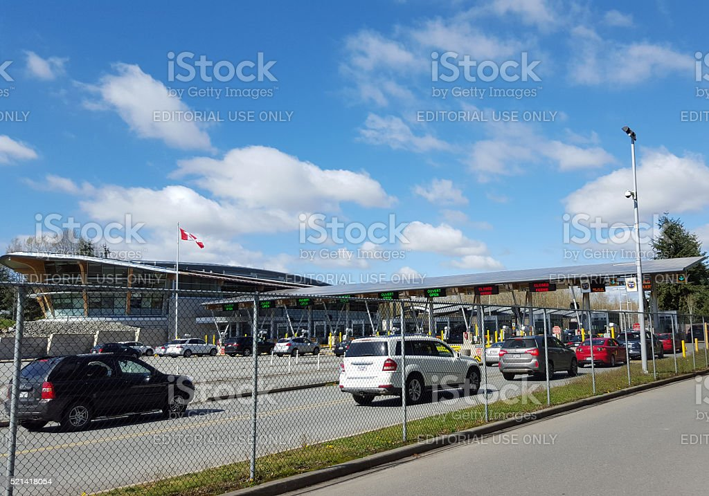 Canada BC Border Crossing After Leaving Blaine Washington stock photo