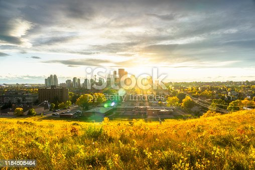 Canada, Calgary, Panoramic view of city at sunset in the fall