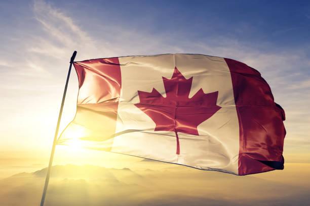 캐나다 캐나다 국기 섬유 피복 직물 최고의 일출 안개 안개에 흔들며 - 캐나다 뉴스 사진 이미지