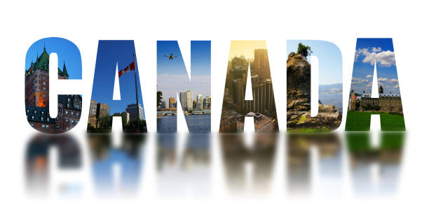 Canada collage reflected on white stock photo