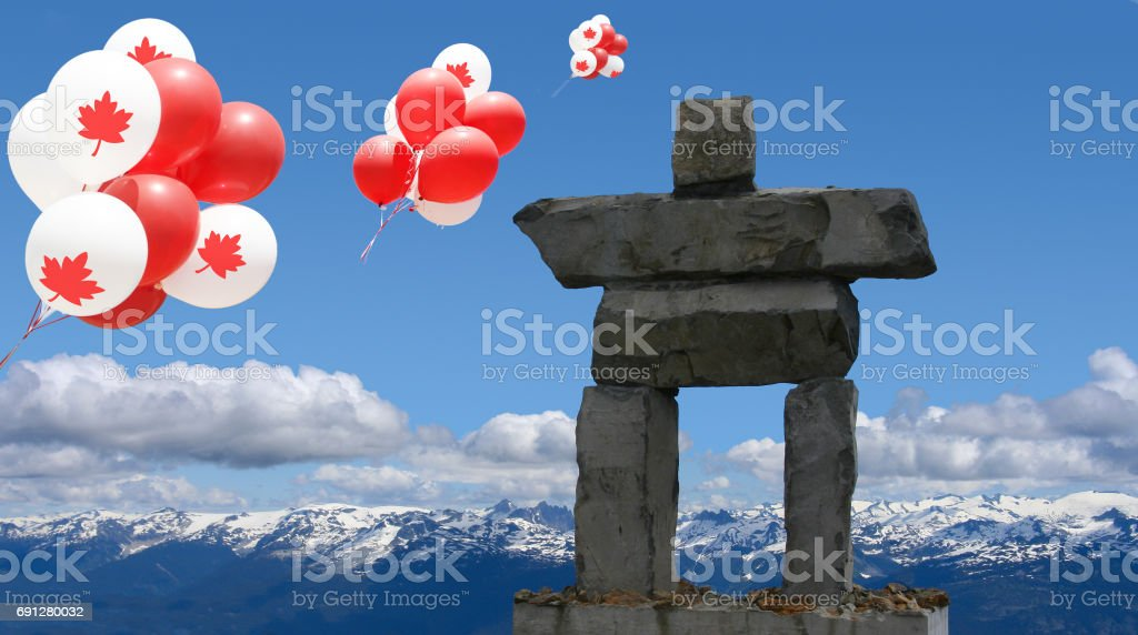Canada Day Balloons Inukshuk Stock Photo More Pictures Of 150th