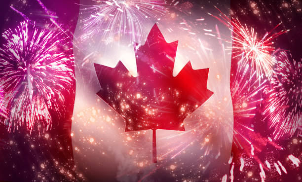 canada day celebration design banner - canada day stock pictures, royalty-free photos & images