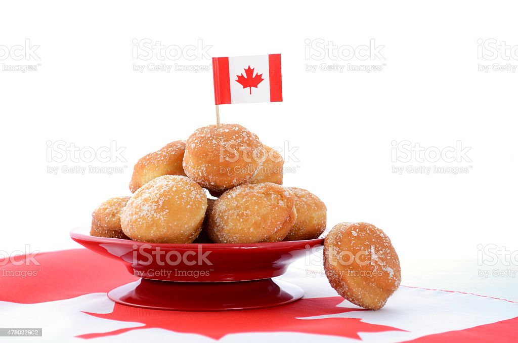 Canada Day celebration with plate of donut holes. stock photo