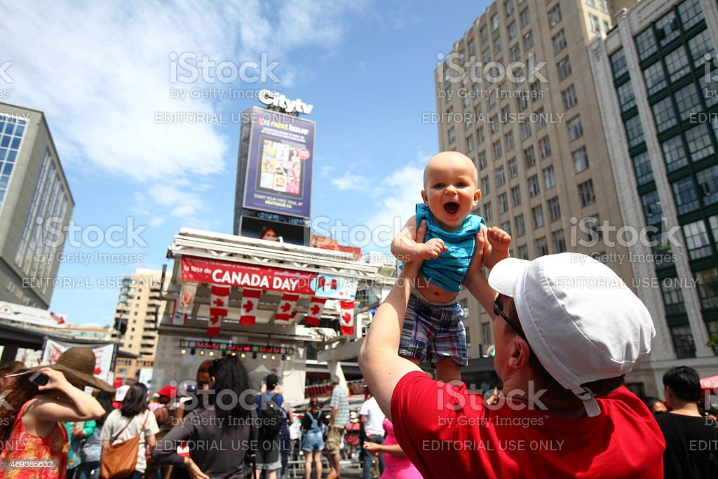 Canada Day Celebrations in Toronto at Dundas Square stock photo