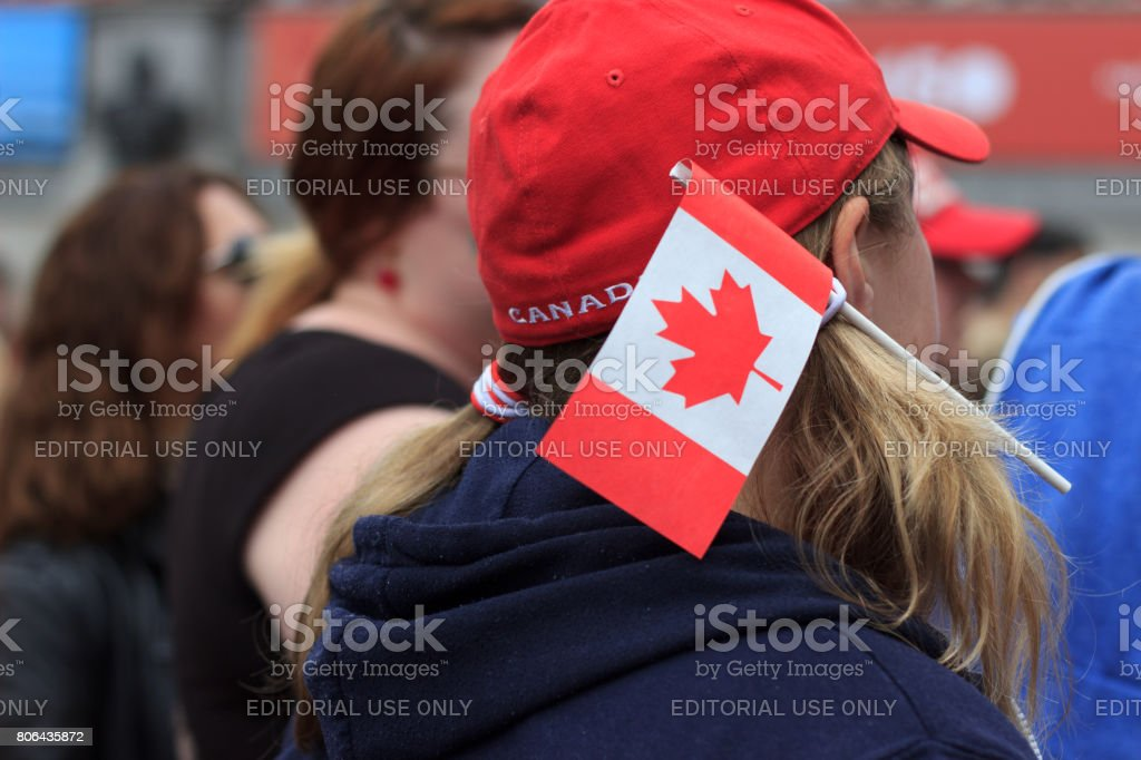 Canada Day Celebrations in Trafalgar Square, London stock photo