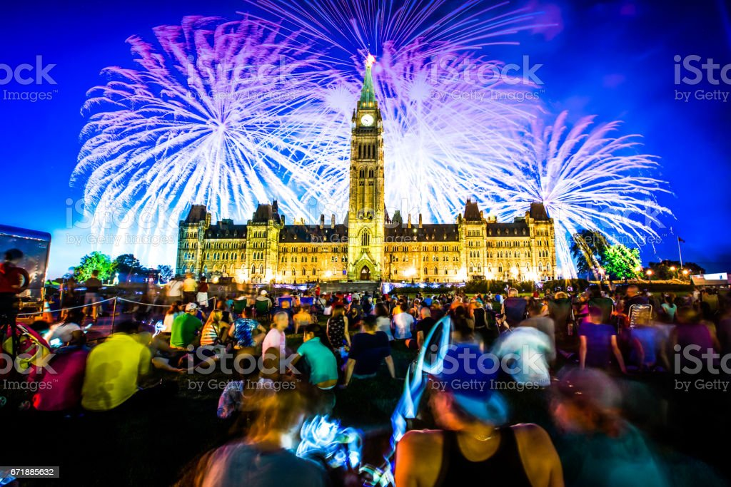 Canada Day Firework - Ottawa stock photo
