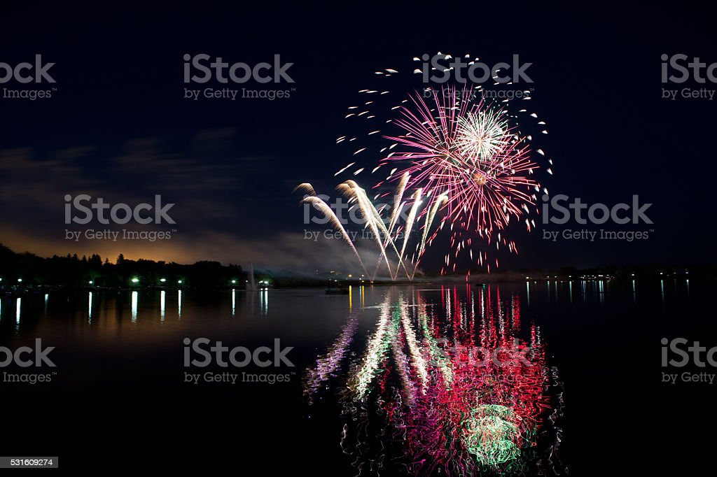 Canada Day fireworks at Wascana Lake in Regina stock photo