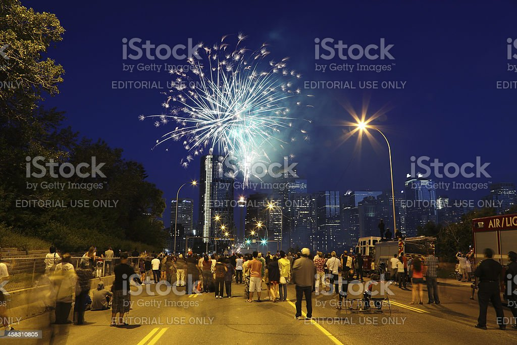 Canada Day Fireworks in Calgary royalty-free stock photo