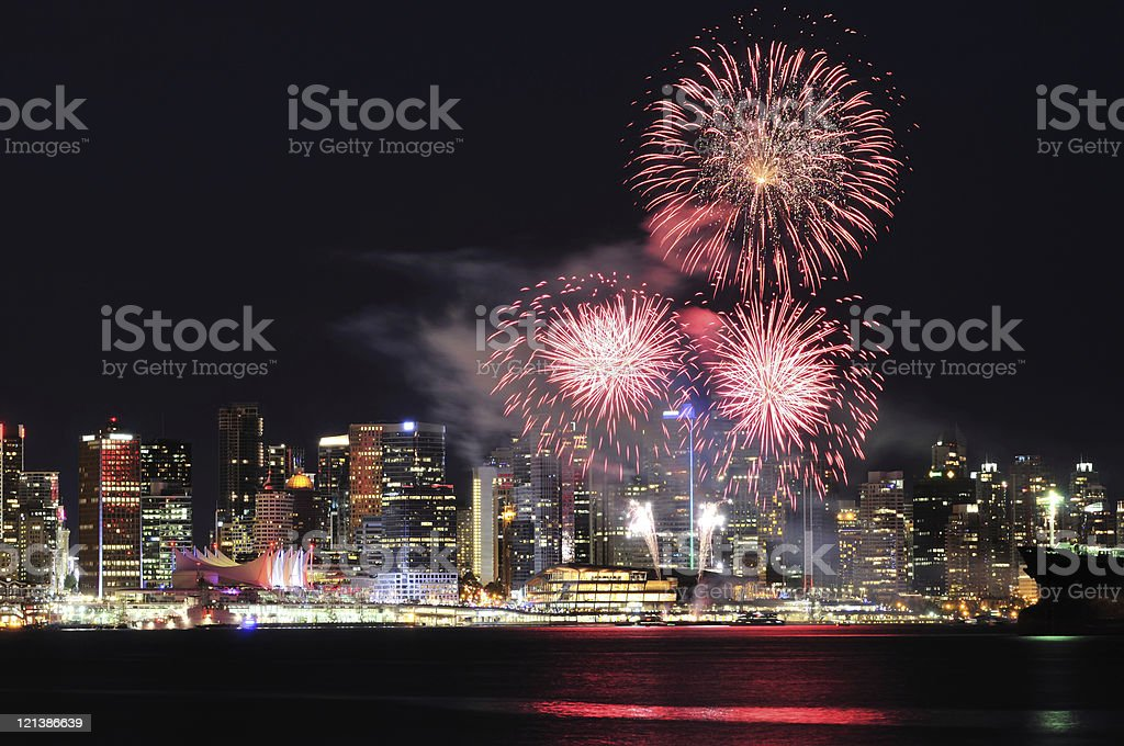Canada Day fireworks over Vancouver skyline stock photo