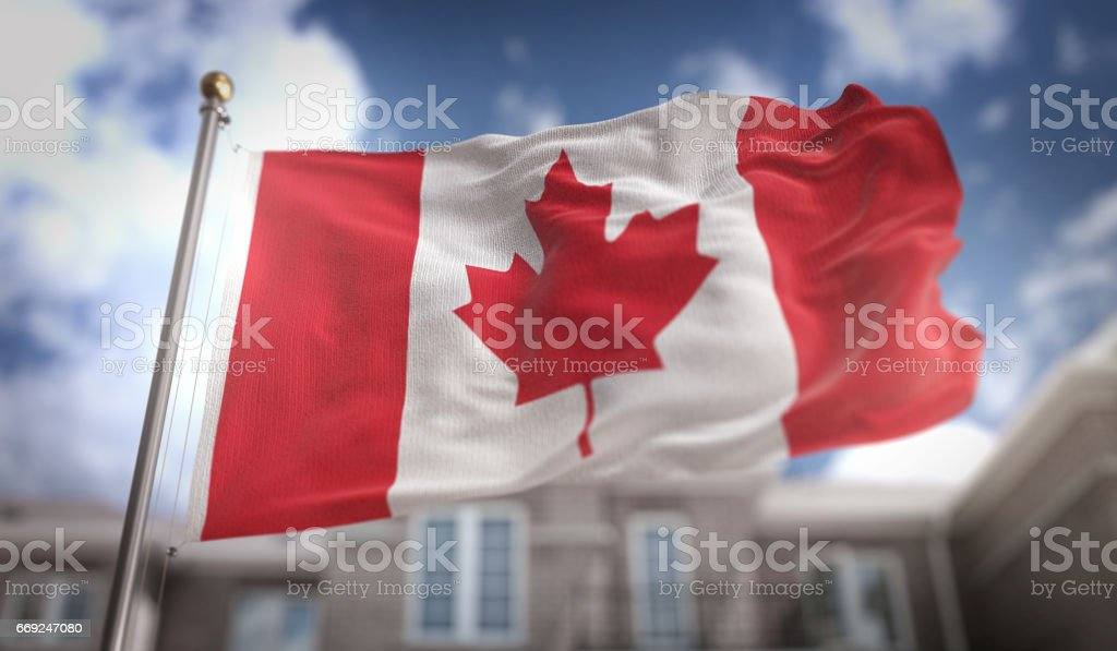 Render 3D de Canadá bandera sobre fondo azul Sky Building - foto de stock