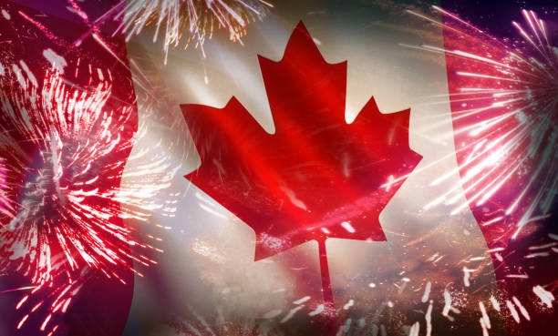 canada flag fireworks colorful celebration - canada day stock pictures, royalty-free photos & images