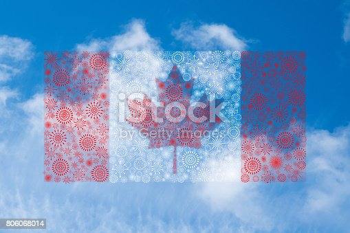 istock canada flag fireworks on blue sky background 806068014