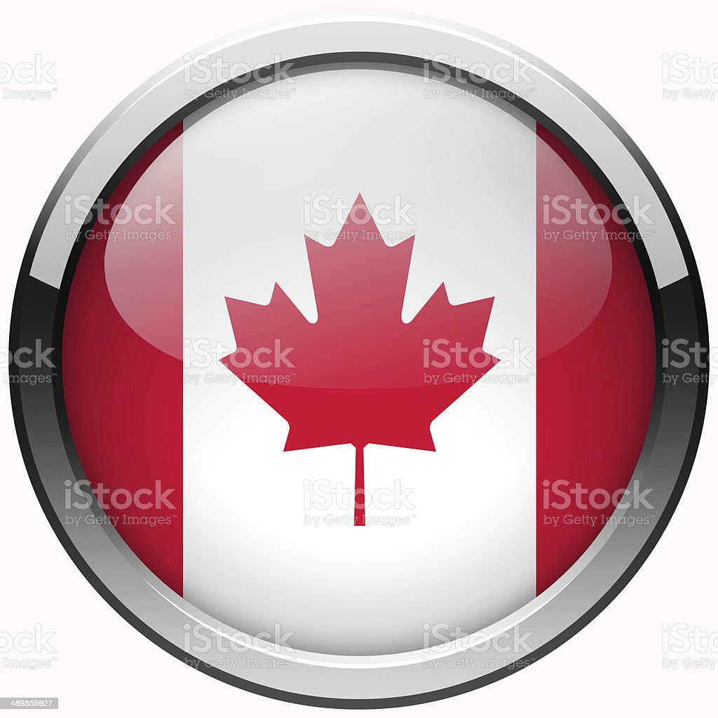 canada flag gel metal button stock photo