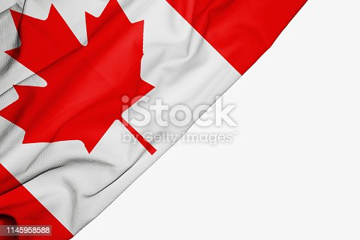 istock Canada flag of fabric with copyspace for your text on white background 1145958588