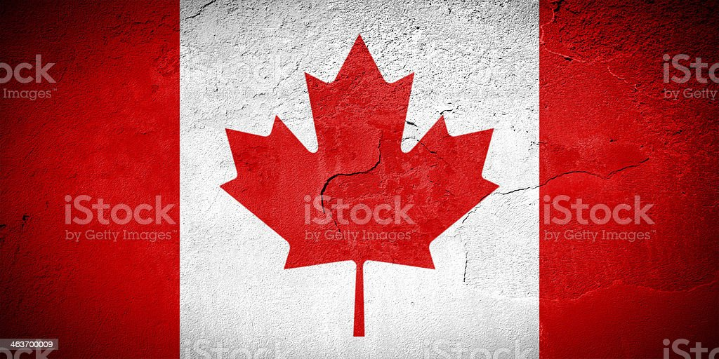 Canada flag on cracked wall royalty-free stock photo