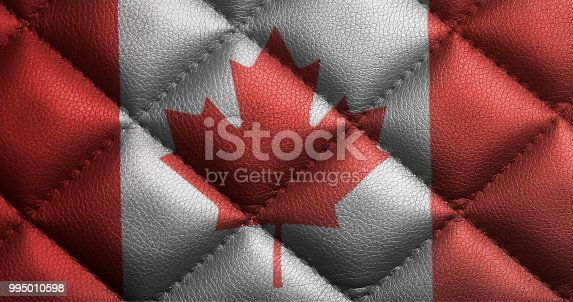istock Canada flag on leather texture 995010598