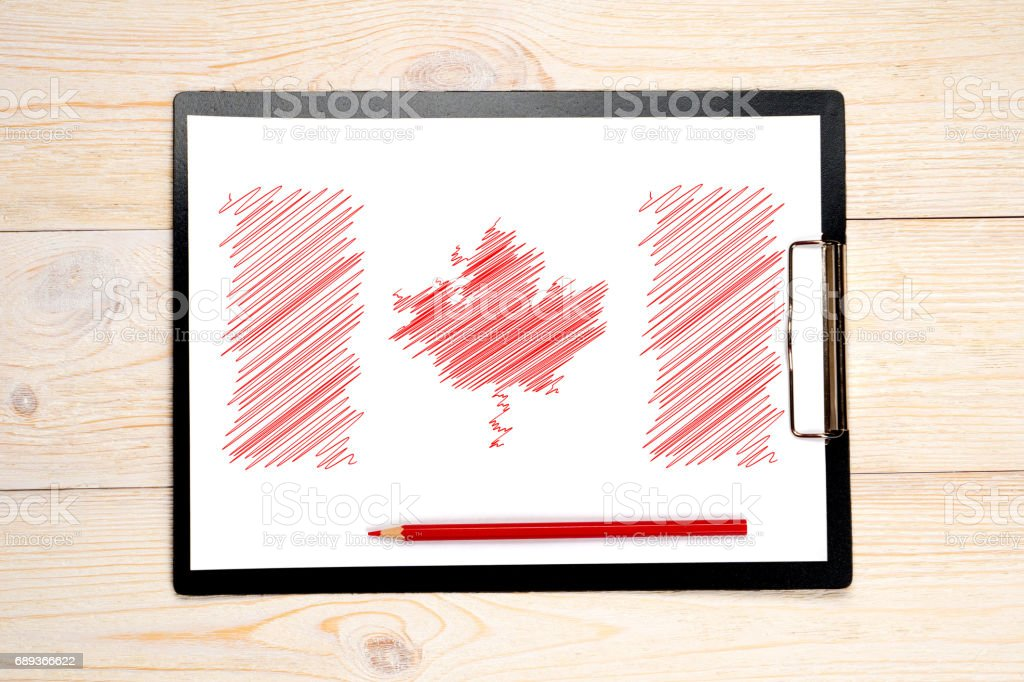canada flag sketch on paper stock photo