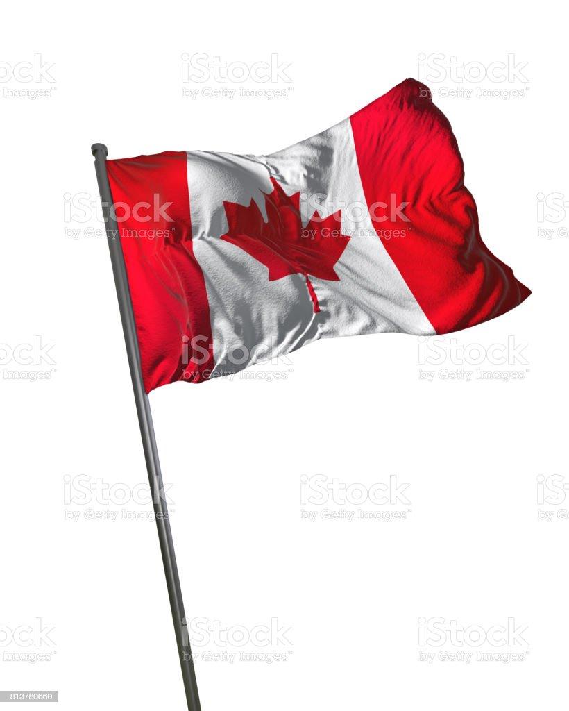 Canada Flag Waving Isolated on White Background Portrait stock photo