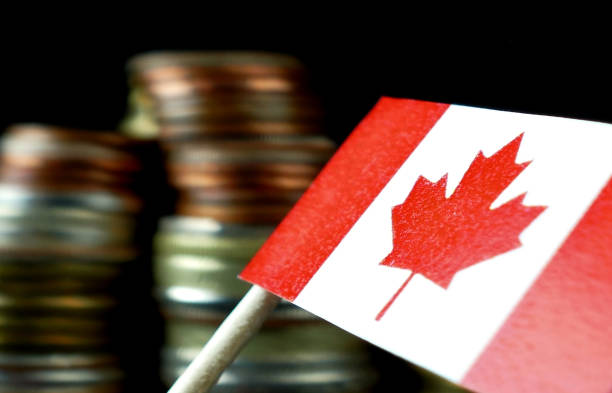 Canada flag waving with stack of money coins macro Canada flag waving with stack of money coins macro former yugoslavia stock pictures, royalty-free photos & images